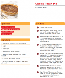 Recipe Courtesy of Karo Syrup: http://www.karosyrup.com/Recipe/Classic_Pecan_Pie